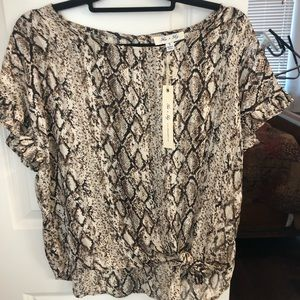She and Sky snake ruffle blouse Small
